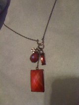 Fashion gunmettal and red stone necklace & earrings in DeRidder, Louisiana